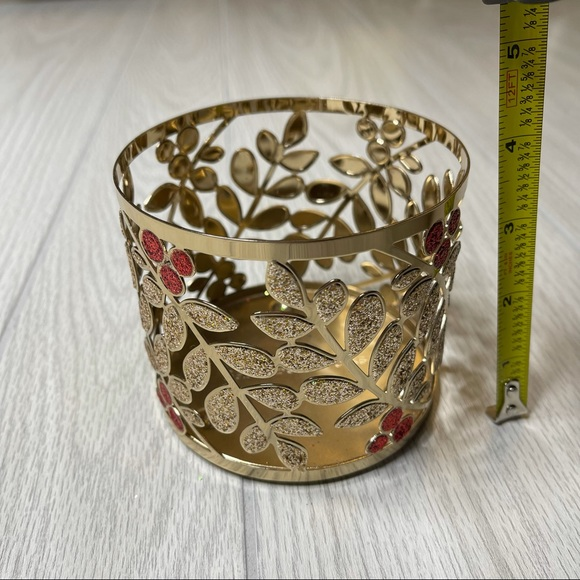 Bath & Body Works 3 Wick Candle Holder Gold